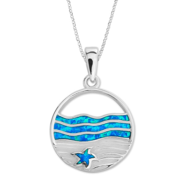 La Preciosa Sterling Silver Blue Opal Ocean and Starfish Pendant