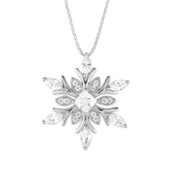 """La Preciosa Snowflake/Heart with Simulated Diamond CZ 18"""" Necklace Sterling Silver Jewelry for Women or Teens. Opens flyout."""