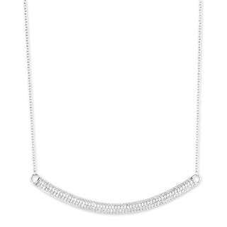 La Preciosa Sterling Silver Cubic Zirconia Large Curved Bar Smile Necklace