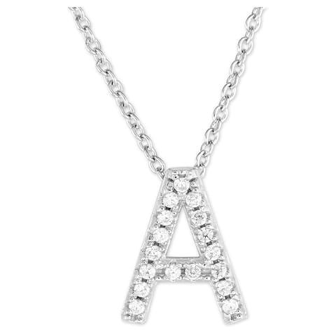 La Preciosa Sterling Silver Micropave CZ Initial Necklace