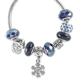 La Preciosa Silvertone and Navy Beaded Santa Snowflake Charm Bracelet
