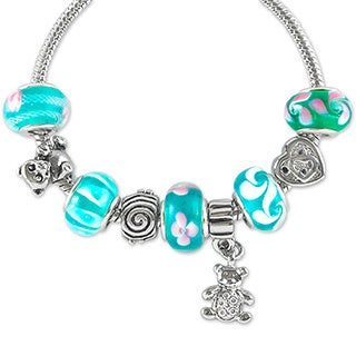 La Preciosa Silvertone and Glass Beads Teddy Bear Charm Bracelet