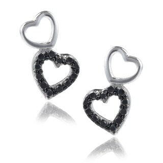 Journee Collection Sterling Silver Diamond Accent Heart Dangle Earrings