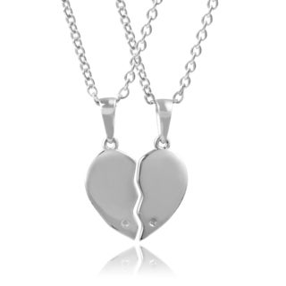 Journee Collection Sterling Silver Diamond Accent Broken Heart Necklace