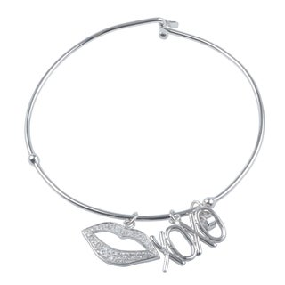 Journee Collection Sterling Silver Cubic Zirconia XOXO Lips Bangle