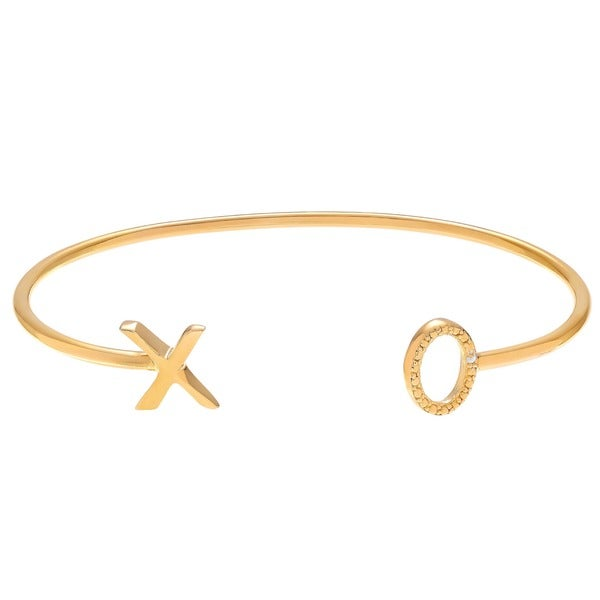 Journee Collection Sterling Silver Diamond Accent XO Open Cuff Bracelet