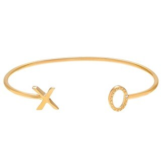 Journee Collection Sterling Silver Diamond Accent XO Open Cuff Bracelet (2 options available)