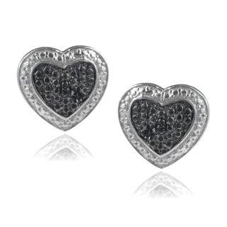 Journee Collection Sterling Silver Black Diamond Accent Heart Stud Earrings