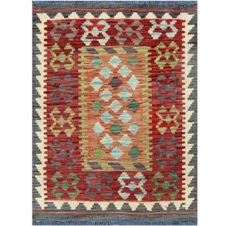 Herat Oriental Afghan Hand-woven Tribal Kilim Burgundy/ Gray Wool Rug (2'1 x 2'8)