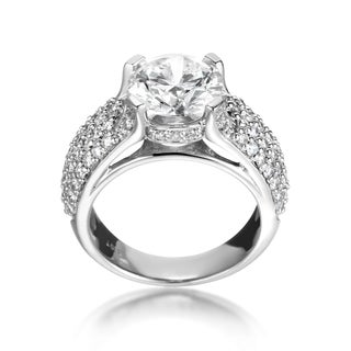 SummerRose 18k White Gold Pave 4 1/4ct TDW Solitaire Diamond Engagement Ring