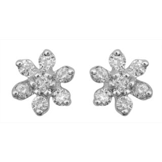 Divina Sterling Silver 1/4ct TDW Diamond Accented Earrings