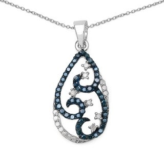 Olivia Leone Sterling Silver 1/10ct TDW Blue Diamond Heart Necklace