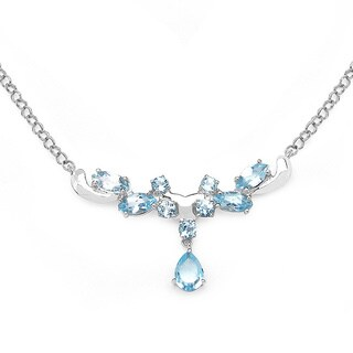 Malaika 3.57 Carat Genuine Blue Topaz .925 Sterling Silver Necklace