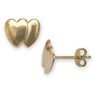 14k Yellow Gold Double Heart Stamping Earrings