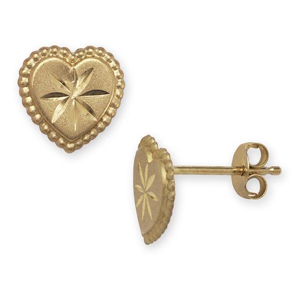 14k Yellow Gold Diamond-cut Heart Earrings
