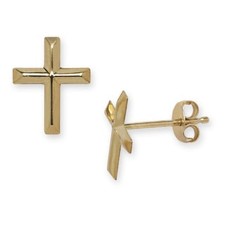 14k Yellow Gold Beveled Cross Earrings