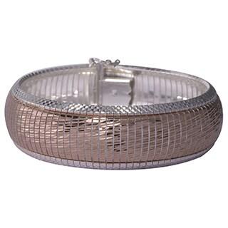 Two-tone Sterling Silver Diamond-cut Cubetto Bracelet