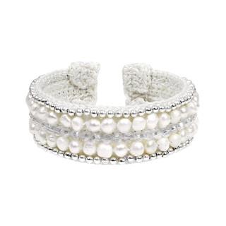 Elegant Goddess Freshwater Pearl and Crystal Medley Cuff (Thailand)