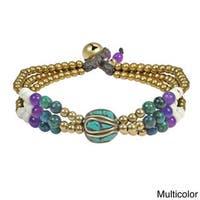 Mix Stone Tibetan Brass Beads Handmade Bracelet (Thailand)