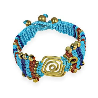 Blue Macrame Art Deco Brass Handmade Bracelet (Thailand)