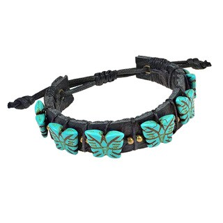Enchanting Butterflies Turquoise Stones Leather Bracelet (Thailand)