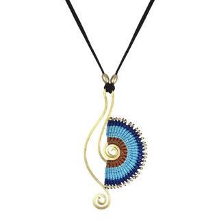 Handmade Blue Half Moon Brass Art Macrame Suede Necklace (Thailand)hailand)