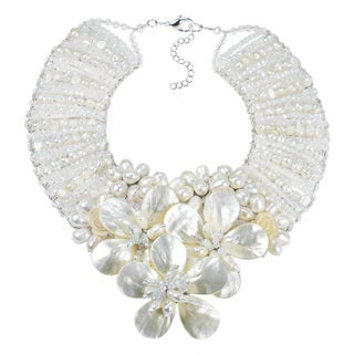 Handmade Enchanted Floral Mother of Pearl and Pearl Bridal Necklace (Thailand)