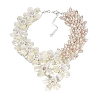 Elegant Blush Mother of Pearl and Pearl Floral Necklace (Thailand)