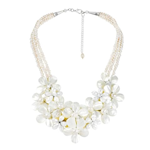 Handmade Mix Floral Bouquet Cluster Mother of Pearl and Pearl Necklace (Thailand)