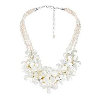Floral Bouquet Cluster Mother of Pearl and Pearl Necklace (Thailand)