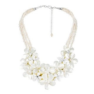 Handmade Floral Bouquet Cluster Mother of Pearl and Pearl Necklace (Thailand)