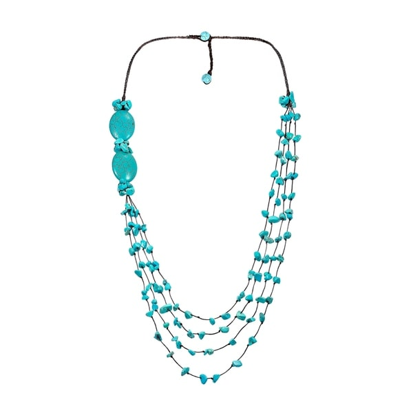 Handmade Oval Unity Layered Turquoise Cotton Rope Long Necklace (Thailand). Opens flyout.