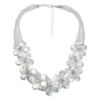Handmade Striking Floral Plumeria White Coin Pearl Necklace (Thailand)