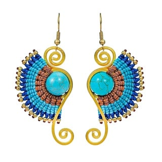 Turquoise Multi Macrame Swirl Brass Artsy Dangle Earrings (Thailand)