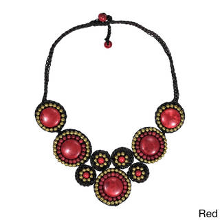 Handmade Precious Mosaic Circles Stone Fashion Necklace (Thailand)