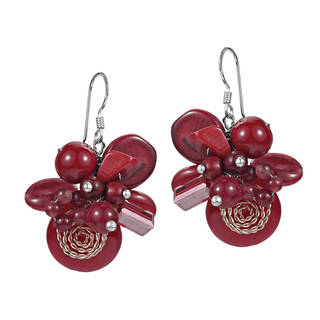 Handmade Cluster Flower Coral Stone .925 Silver Dangle Earrings (Thailand)