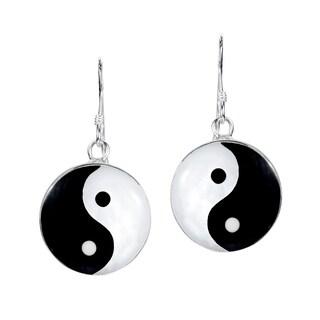 Handmade Yin and Yang Life Balance .925 Silver Dangle Earrings (Thailand)