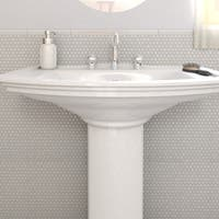 SomerTile 11.25x11.75-inch Asteroid Penny Round White Porcelain Mosaic Floor and Wall Tile (10 tiles/9.4 sqft.)