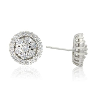 Sterling Silver 2 1/2ct Round-Cut Cubic Zirconia Flower Stud Earringings