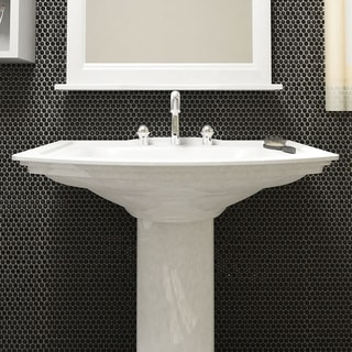 SomerTile 11.25 x 11.75-inch Asteroid Penny Round Black Porcelain Mosaic Floor and Wall Tile (Pack o