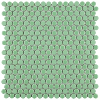 SomerTile 11.25 x 11.75-inch Asteroid Penny Round Capri Porcelain Mosaic Floor and Wall Tile (Pack o