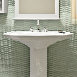 SomerTile 11.25x11.75-inch Asteroid Penny Round Mint Porcelain Mosaic Floor and Wall Tile (10 tiles/9.4 sqft.)