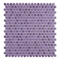 SomerTile 11.25x11.75-inch Asteroid Penny Round Purple Porcelain Mosaic Floor and Wall Tile (10 tiles/9.4 sqft.)