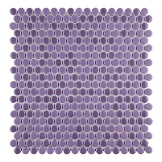 SomerTile 11.25 x 11.75-inch Asteroid Penny Round Purple Mosaic Porcelain Floor and Wall Tile (Pack
