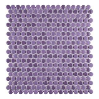SomerTile 1125x1175 Inch Asteroid Penny Round Purple Porcelain Mosaic Floor And Wall