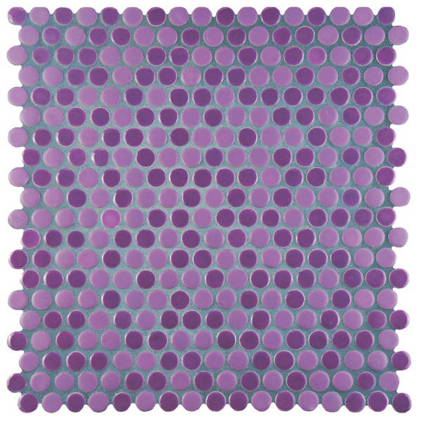 Somertile 11 25x11 75 Inch Asteroid Penny Round Purple Porcelain Mosaic Floor And Wall Tile 10 Tiles 9 4 Sqft Overstock 9930140