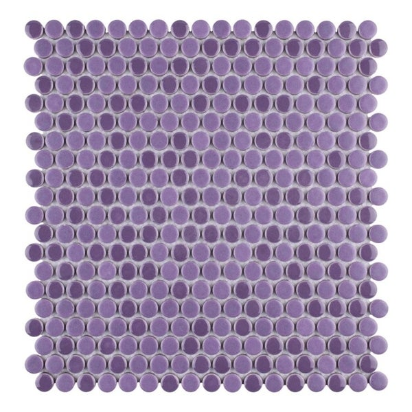 SomerTile 11.25x11.75-inch Asteroid Penny Round Purple Porcelain Mosaic  Floor and Wall 6e5bba8fff816
