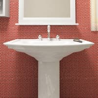 SomerTile 11.25x11.75-inch Asteroid Penny Round Red Porcelain Mosaic Floor and Wall Tile (10 tiles/9.4 sqft.)