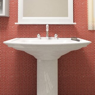 SomerTile 11.25x11.75 Inch Asteroid Penny Round Red Porcelain Mosaic Floor  And Wall