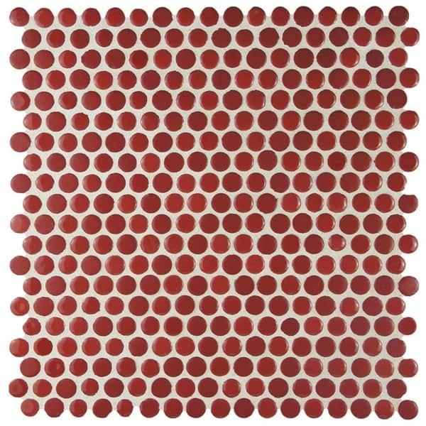 Somertile 11 25x11 75 Inch Asteroid Penny Round Red Porcelain Mosaic Floor And Wall Tile 10 Tiles 9 4 Sqft Overstock 9930142